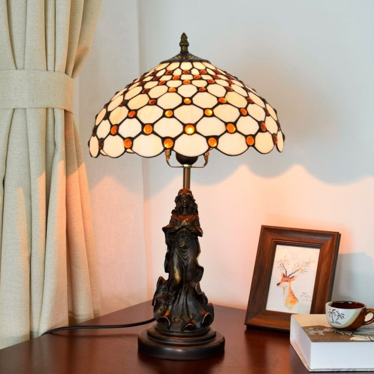 YWXLight Retro Stained Glass Lampshade Table Lamp Living Room Dining Room Bedroom Bedside Light (UK Plug) - Star Produkte