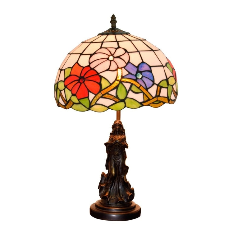 YWXLight Retro Stained Glass Lampshade Table Lamp Living Room Dining Room Bedroom Bedside Decoration Light (US Plug) |