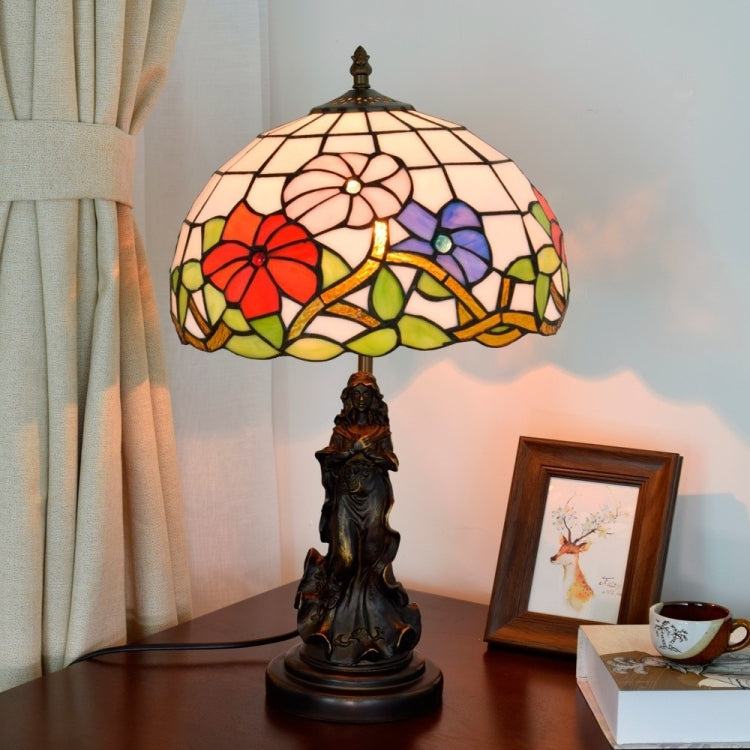 YWXLight Retro Stained Glass Lampshade Table Lamp Living Room Dining Room Bedroom Bedside Decoration Light (US Plug) - Star Produkte