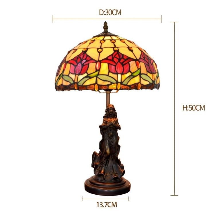 YWXLight European Retro Tulip Lighting Table Lamp Stained Glass Lampshade Bar Living Room Dining Room Bedroom Bedside Counter Lamp (EU Plug) - Star Produkte