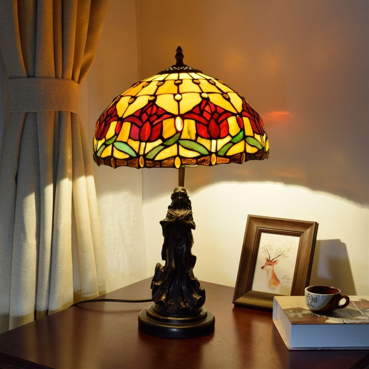 YWXLight European Retro Tulip Lighting Table Lamp Stained Glass Lampshade Bar Living Room Dining Room Bedroom Bedside Counter Lamp (EU Plug) |
