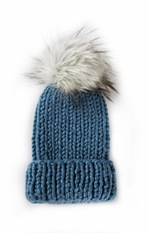 Classic Folded Brim Ribbed Faux Fur Pom-Pom Beanie | Air Force