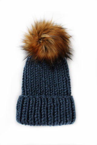 Classic Folded Brim Ribbed Faux Fur Pom-Pom Beanie in Denim + Tamarind