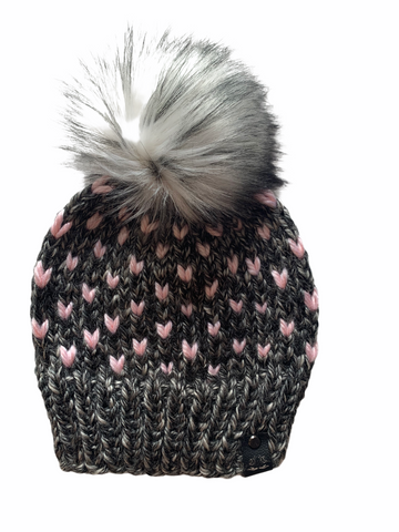 HandsandKneedles Tiny Hearts Faux Fur Beanie | Anchorage Ice + Blossom