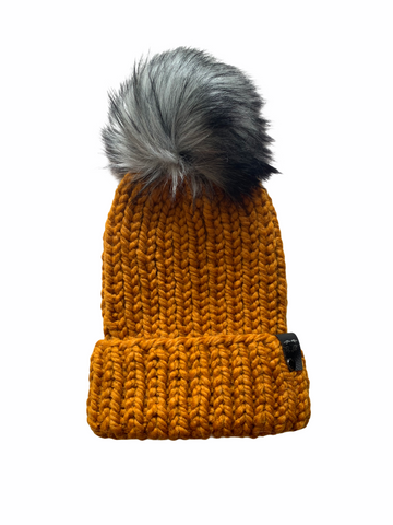 Classic Folded Brim Ribbed Faux Fur Pom-Pom Beanie | Butterscotch