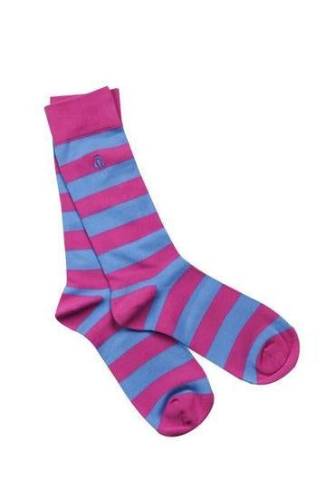 Pink and Light Blue Striped Womens Bamboo Socks