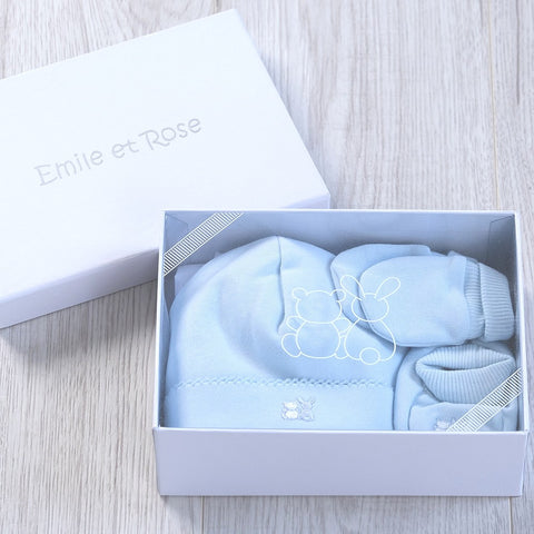 Nox Hat, Bootee and Mitt gift set - Blue