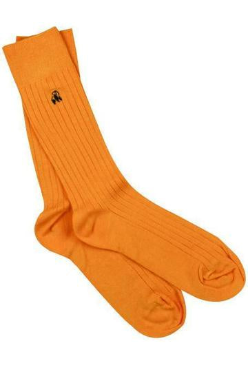 Tangerine Orange Ribbed Mens Bamboo Socks