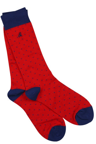 Red Spotted Mens Bamboo Socks