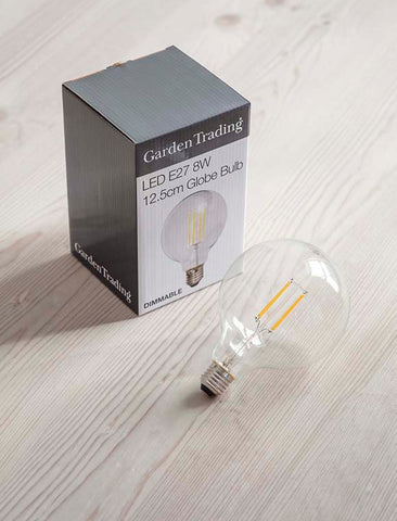 LED E27 8W 12.5cm Globe Light Bulb - Dimmable