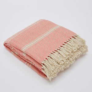 Oxford Striped Blanket - Coral