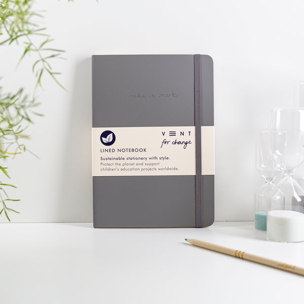 Recycled Leather A5 Lined Notebook - Elephant Grey