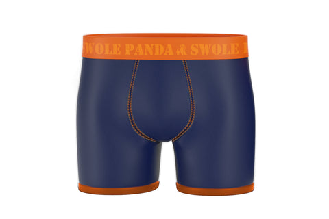 Navy Bamboo Boxer Shorts - Orange Band