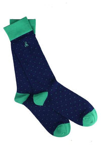 Spotted Green Mens Bamboo Socks