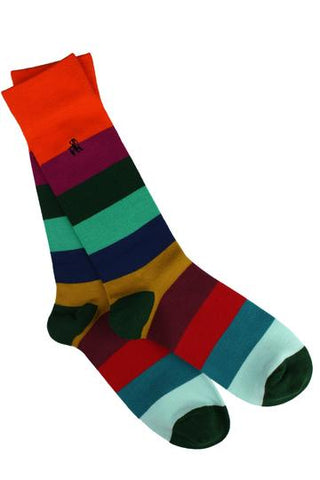 Multi Coloured Block Stripe Mens Bamboo Socks
