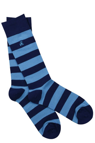 Sky Blue Striped Mens Bamboo Socks