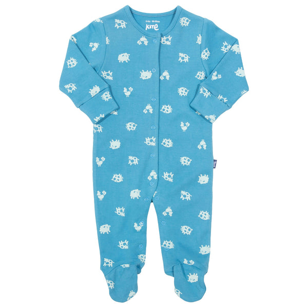 Polka farm sleepsuit - blue