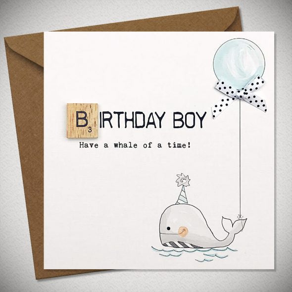 BB Birthday Boy Whale - Card