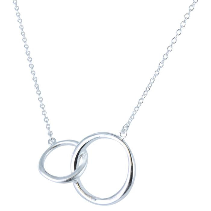 Twin Ring Necklace Silver
