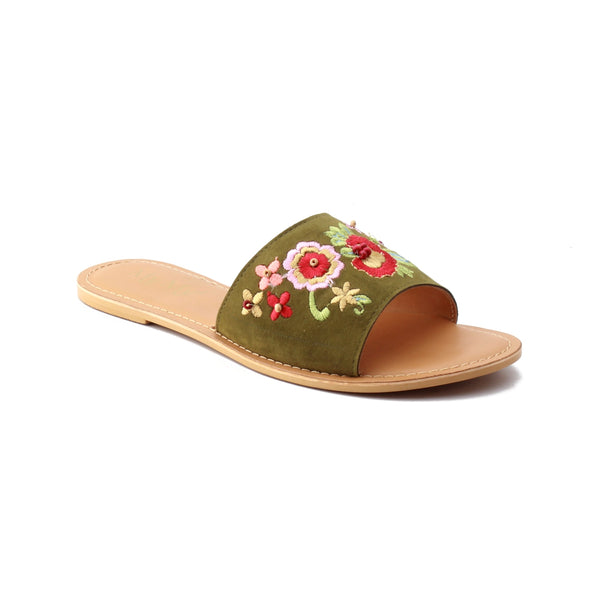 Women Embroidered Floral Suede Slider Flats
