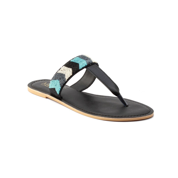 Beaded Flat Sandal (Black)