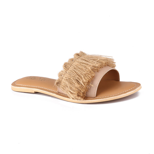 Peach Jute Fringe Band Slides