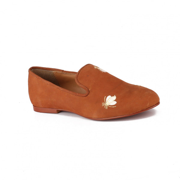 Tan Embroidered Bumble Bee Loafers
