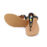 Multicolored Black Handcrafted Leather Flats