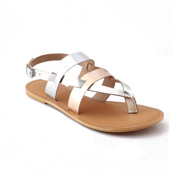 Silver Cross Strap Footwear
