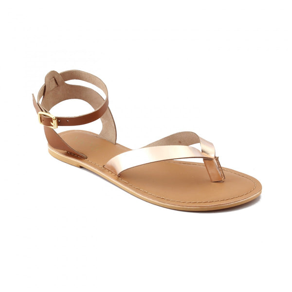 V-Strap Gold Buckled Sandal