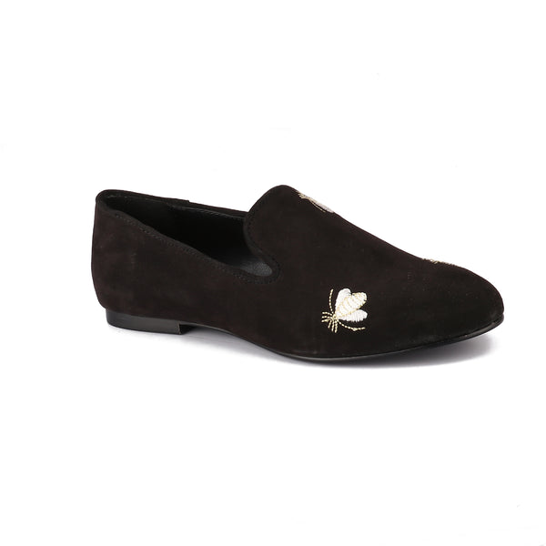 Black Embroidered Bumble Bee Loafers
