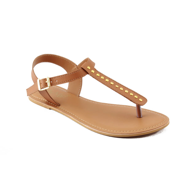 Tan Studded Leather Sandals