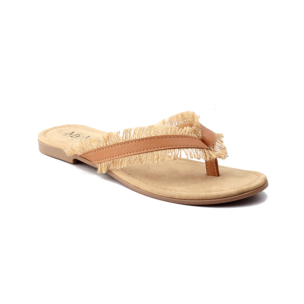 Jute Embellished Tan Leather Flats