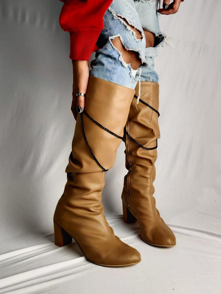 High Heel Boot with Hanging Chain (Nude String)