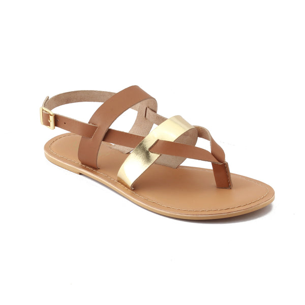 Gold Cross Strap Footwear