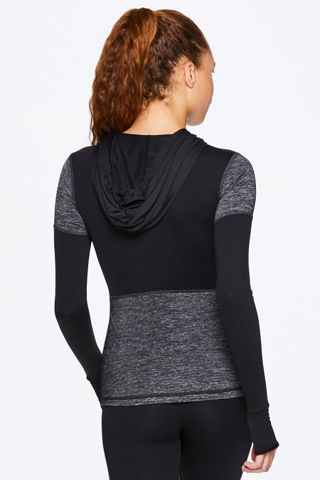 Back View of Alala's Patchwork Hoodie - Women's Active Outerwear