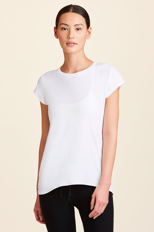 Front view of Alala Women's Luxury Athleisure white tee