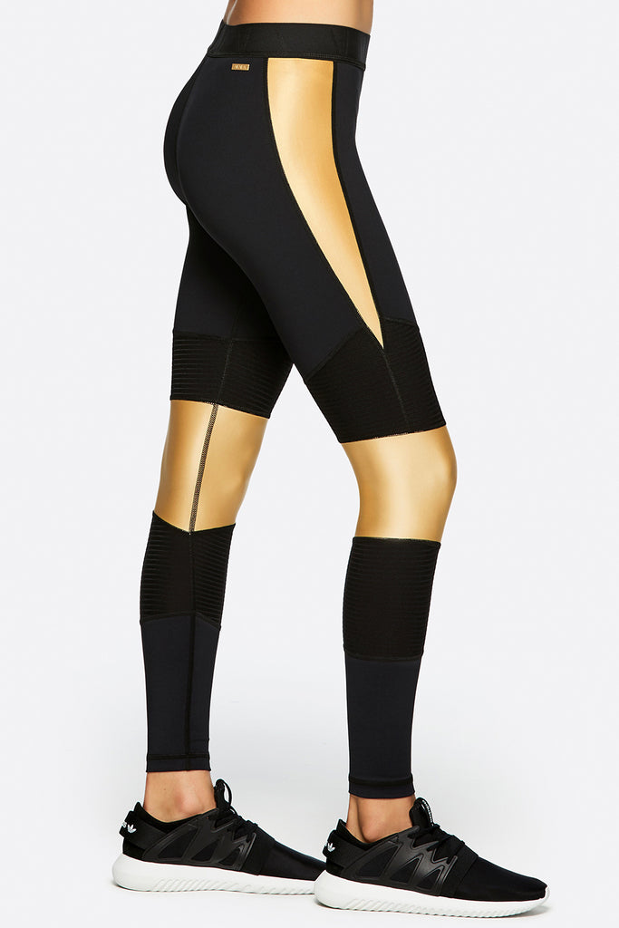 Harley Tight in Black + Liquid Gold, {View 1} | Alala | Luxury Women's Activewear | Style meets Sport