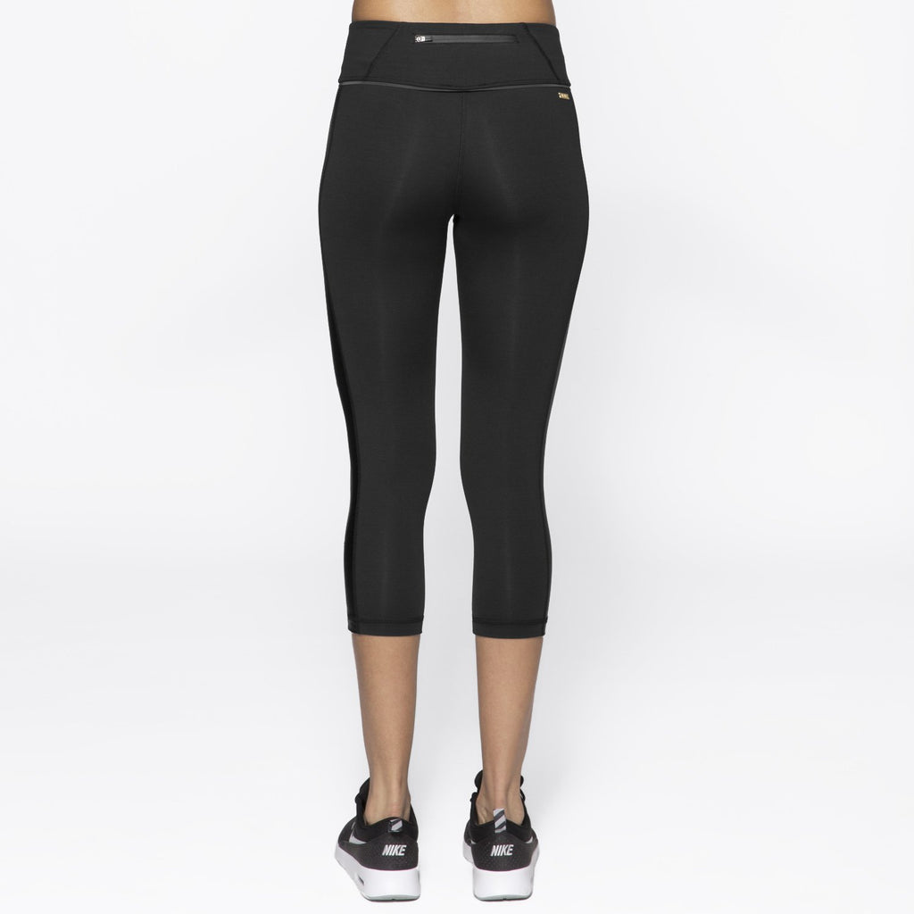 Blocked Crop Tight in Black + Smoke, {View 2} | Alala | Luxury Women's Activewear | Style meets Sport