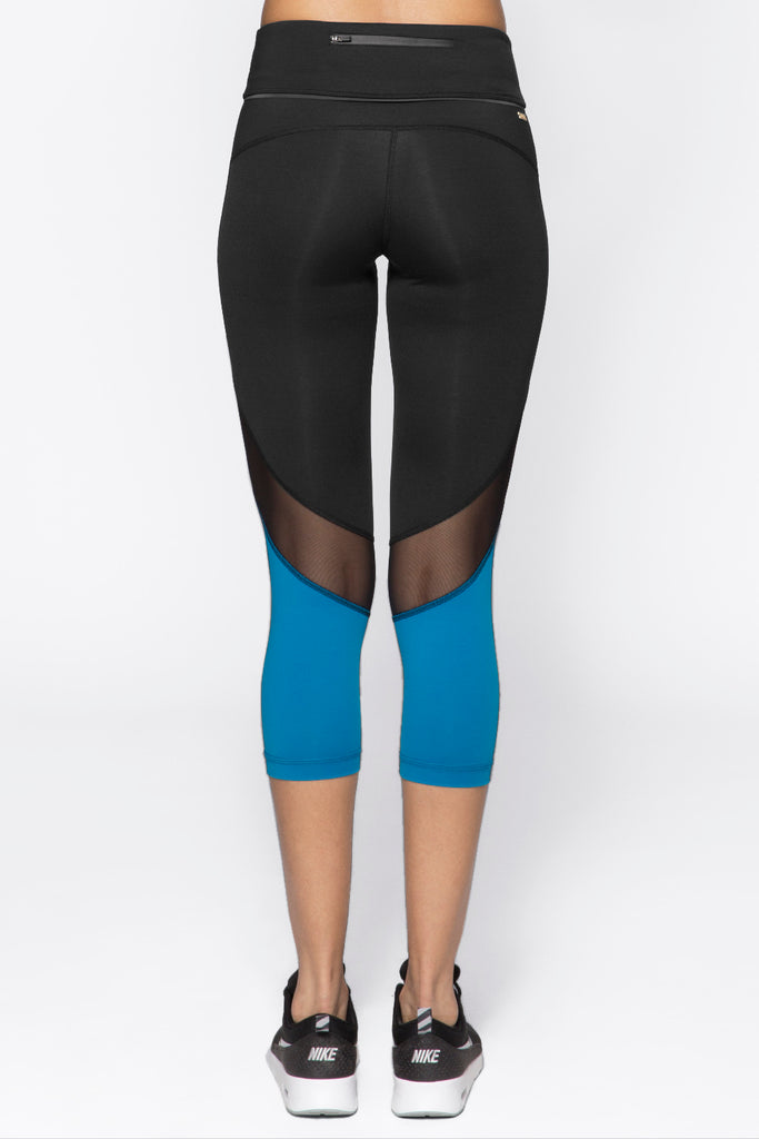 Captain Crop Tight in Black & Bolt Blue, $74 (SALE) | Alala | Luxury Womens Activewear | Style meets Sport