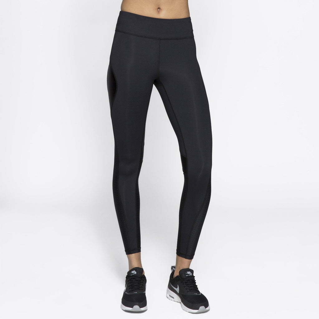 Edge Ankle Tight in Embossed Check, {View 3} | Alala | Luxury Women's Activewear | Style meets Sport