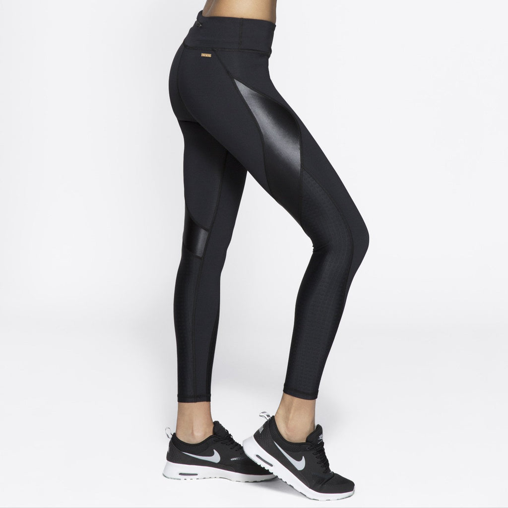 Edge Ankle Tight in Embossed Check, {View 1} | Alala | Luxury Women's Activewear | Style meets Sport