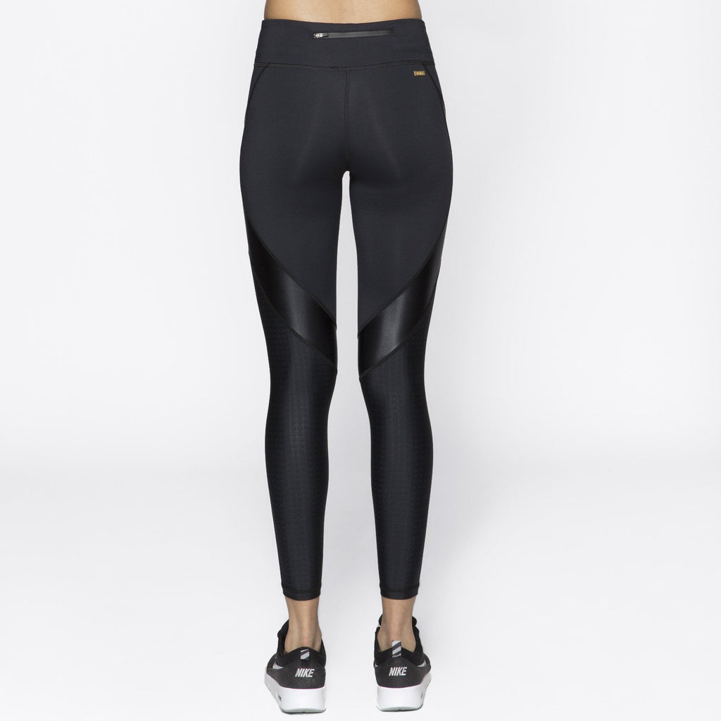 Edge Ankle Tight in Embossed Check, {View 2} | Alala | Luxury Women's Activewear | Style meets Sport