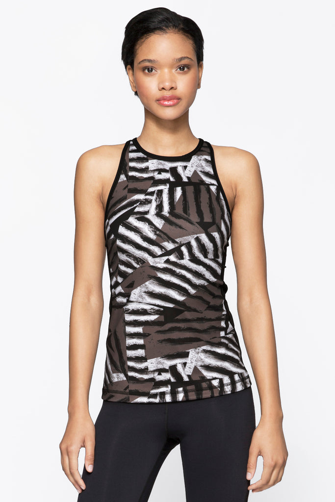 Racer Tank in Bronze Stripe, $53 | Alala | Luxury Womens Activewear | Style meets Sport