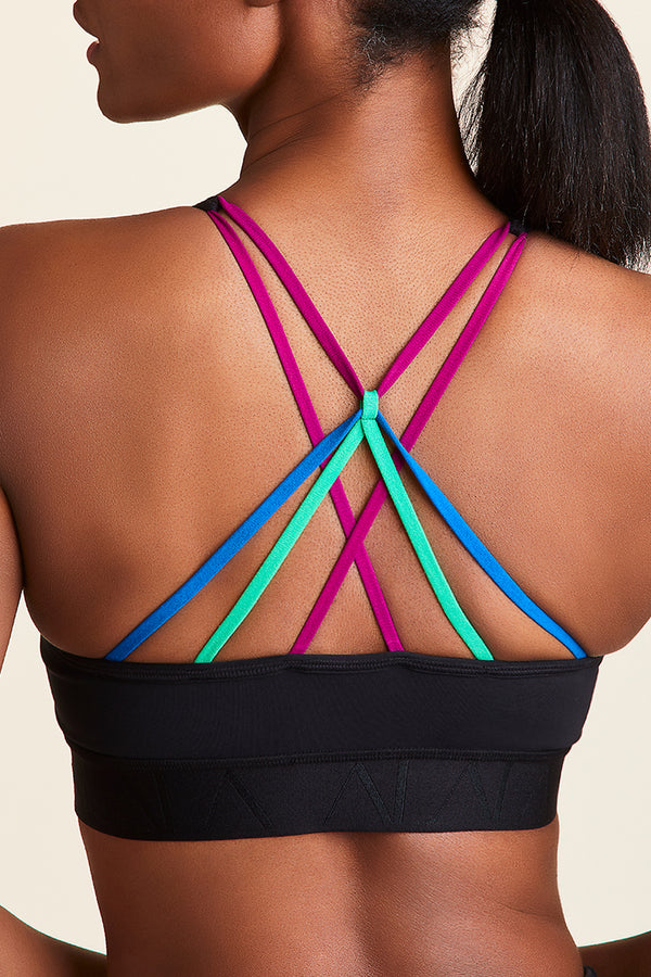 Front view of Alala Women's Luxury Athleisure multi color-blocked bra