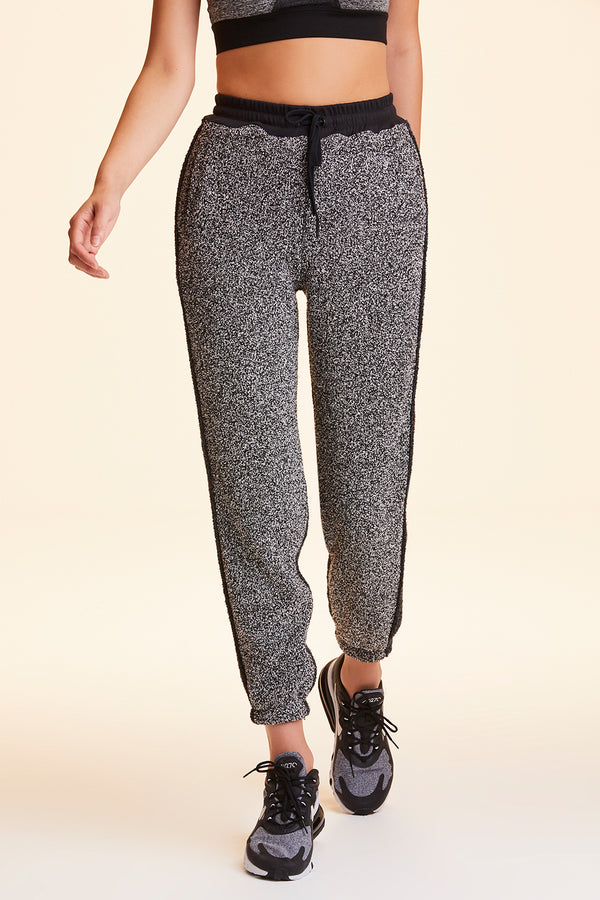 Front view of Alala Women's Luxury Athleisure heather grey marled yarn sweatpant