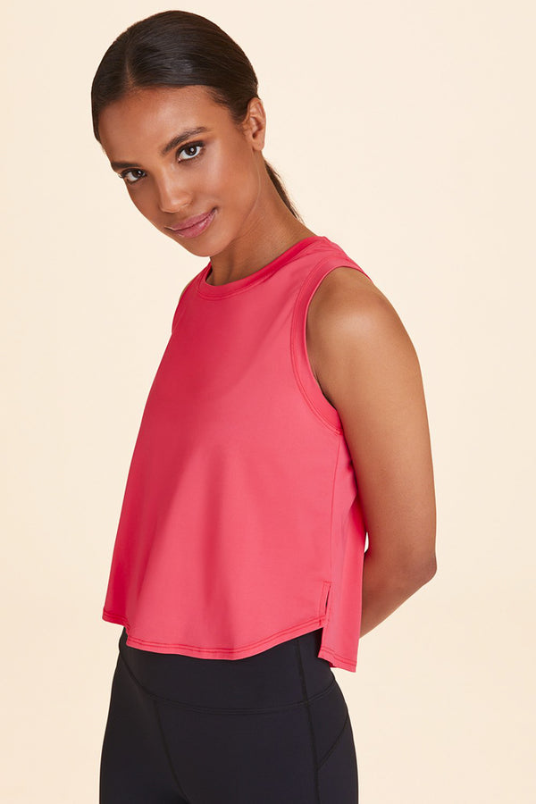 Front view of Alala Women's Luxury Athleisure watermelon-colored tank
