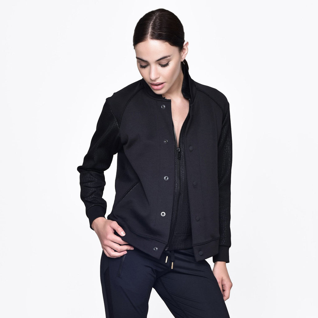 Signature Bomber Jacket in Black, {View 1} | Alala | Luxury Women's Activewear | Style meets Sport