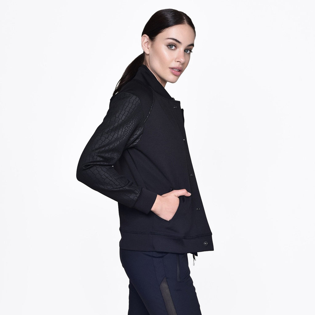 Signature Bomber Jacket in Black, {View 3} | Alala | Luxury Women's Activewear | Style meets Sport