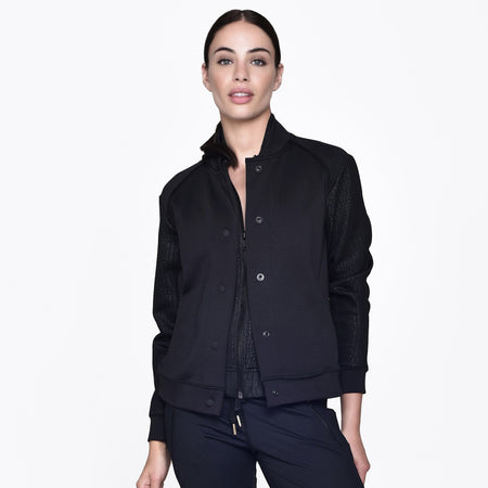 Signature Bomber Jacket in Black, {View 2} | Alala | Luxury Women's Activewear | Style meets Sport
